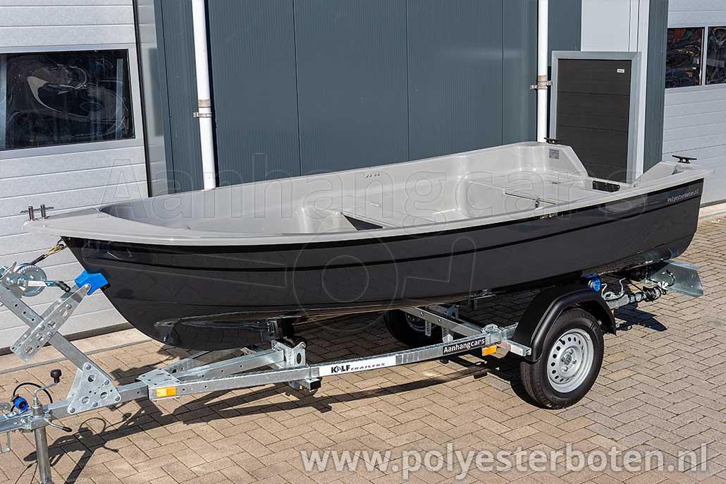 Polyester boot IZI-Line 390 zijaanzicht donkergrijs met lichtgrijs dek